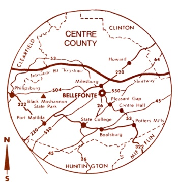 Centre County, PA, centered on Bellefonte